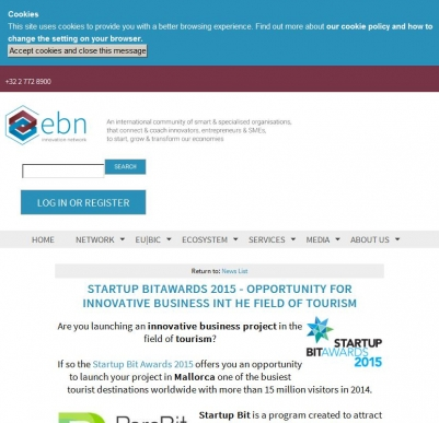 EBN | Startup BITAwards 2015 - Opportunity for innovative business int he field of tourism